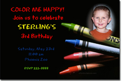 Design online, download jpg immediately DIY crayon coloring party birthday Invitations