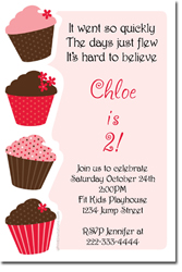 Design online, download jpg immediately DIY cupcake birthday party Invitations