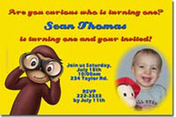 Design online, download jpg immediately DIY curious george party birthday Invitations
