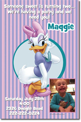 Design online, download jpg immediately DIY daisy duck party birthday Invitations