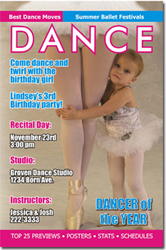 Design online, download jpg immediately DIY dance magazine birthday party Invitations