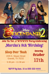 Design online, download jpg immediately DIY descendants disney party birthday Invitations