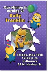 Design online, download jpg immediately DIY despicable me minion birthday party Invitations