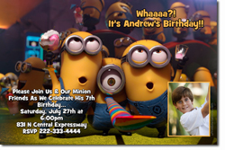 Design online, download jpg immediately DIY despicable me party birthday Invitations