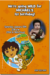Design online, download jpg immediately DIY go diego go birthday Invitations