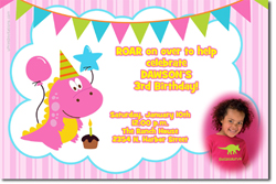 Design online, download jpg immediately DIY pink dinosaur birthday Invitations