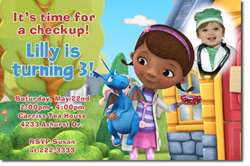 Design online, download jpg immediately DIY doc mcstuffins party birthday Invitations