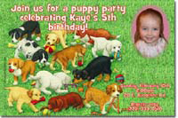 Design online, download jpg immediately DIY dog puppy party birthday Invitations