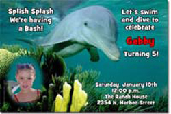 Design online, download jpg immediately DIY dolphin party birthday Invitations