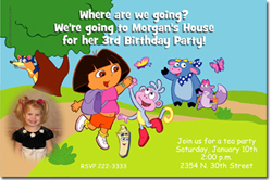 Design online, download jpg immediately DIY dora the explorer party birthday Invitations
