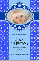 Design online, download jpg immediately DIY polka dots blue birthday party Invitations