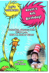 Design online, download jpg immediately DIY dr suess lorax party birthday Invitations