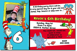 Design online, download jpg immediately DIY dr suess themed birthday Invitations