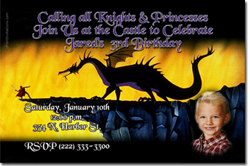 Design online, download jpg immediately DIY dragon birthday Invitations