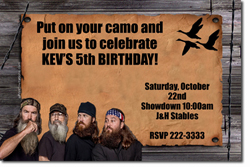 Design online, download jpg immediately DIY duck dynasty birthday Invitations
