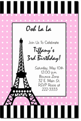Design online, download jpg immediately DIY paris eiffel tower party birthday Invitations