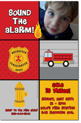 Design online, download jpg immediately DIY fireman badge birthday Invitations
