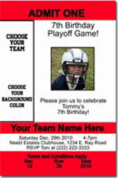 Design online, download jpg immediately DIY football ticket birthday party invitations