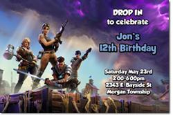 Design online, download jpg immediately DIY fortnite birthday party Invitations