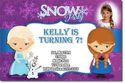 Design online, download jpg immediately DIY frozen Anna and Elsa party birthday Invitations