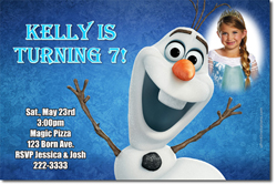 Design online, download jpg immediately DIY frozen olaf party birthday Invitations