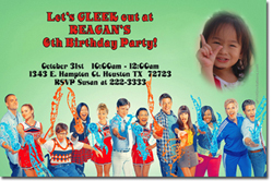 Design online, download jpg immediately DIY glee party birthday Invitations