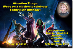 Design online, download jpg immediately DIY guardians of the galaxy birthday Invitations