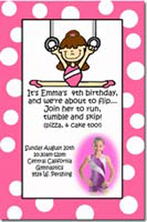 Design online, download jpg immediately DIY gymnastics party birthday Invitations