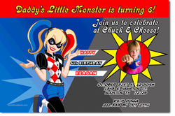 Design online, download jpg immediately DIY harley quinn party birthday Invitations