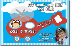 Design online, download jpg immediately DIY helicopter birthday Invitations