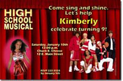Design online, download jpg immediately DIY high school musical party birthday Invitations
