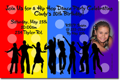 Design online, download jpg immediately DIY hip hop dance party birthday Invitations