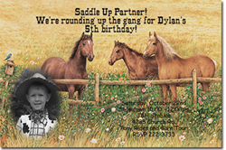 Design online, download jpg immediately DIY horse party birthday Invitations