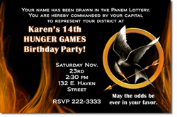 Design online, download jpg immediately DIY hunger games catching fire party birthday Invitations