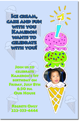 Design online, download jpg immediately DIY ice cream party birthday Invitations