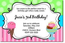 Design online, download jpg immediately DIY ice cream parlor party birthday Invitations