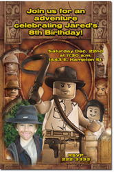Design online, download jpg immediately DIY indiana jones lego birthday Invitations