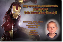 Design online, download jpg immediately DIY iron man birthday Invitations