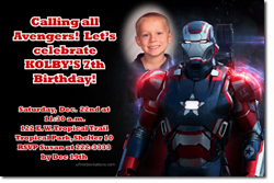 Design online, download jpg immediately DIY ironman anvengers birthday Invitations