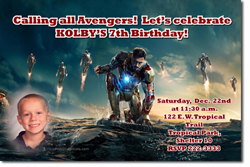 Design online, download jpg immediately DIY ironman birthday Invitations