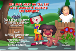 Design online, download jpg immediately DIY jojo cirus party birthday Invitations