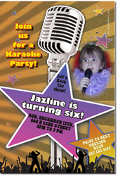 Design online, download jpg immediately DIY karaoke party birthday invitations