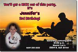 Design online, download jpg immediately DIY karate pink party birthday Invitations