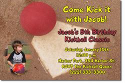 Design online, download jpg immediately DIY kickball party birthday Invitations