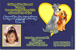 Design online, download jpg immediately DIY lady and the tramp party birthday Invitations