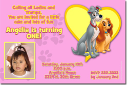 Design online, download jpg immediately DIY lady tramp pink party birthday Invitations