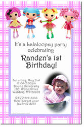 Design online, download jpg immediately DIY lalaloopsy dolls party birthday Invitations