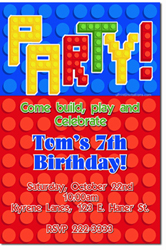 Design online, download jpg immediately DIY lego building party birthday Invitations