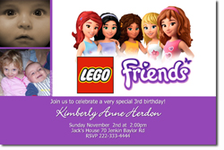 Design online, download jpg immediately DIY lego friends party birthday Invitations