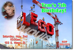 Design online, download jpg immediately DIY lego movie party birthday Invitations